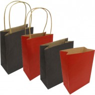 "Paper Bag Twisted Handle & Sq Bottom 5.5"" (DARK BROWN & RED)"